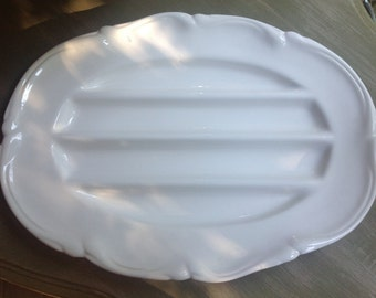 White earthenware asparagus platter