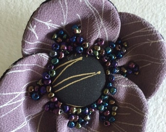 Japanese Silk Flower Brooch