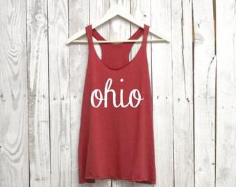 Ohio Tank. Ohio Shirt. Racerback Tank. Tri Blend.