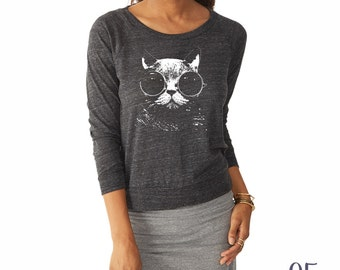 CAT Shirt. Slouchy Pullover. Cat Sweater.