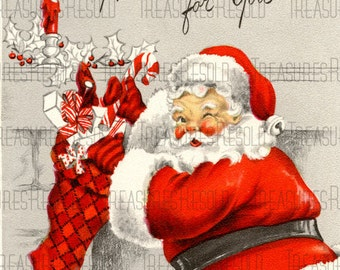 Retro Santa Claus Filling A Christmas Stocking Christmas Card #521 Digital Download