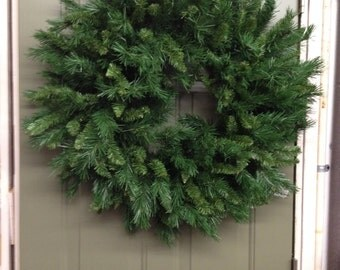 Wreath Deep Green Christmas Greenery Long and Short Branches Full easy to work with, all branches attached to 3 wire frame