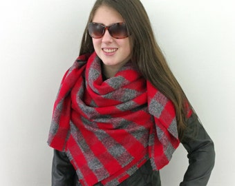 Blanket Scarf, Plaid Scarf, Cotton Scarf in Gray and Red, Flannel Scarf, Tartan Scarf, SALE 20% OFF