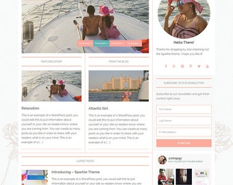 WordPress Premade Theme: Feminine Wordpress Theme for Instant Download