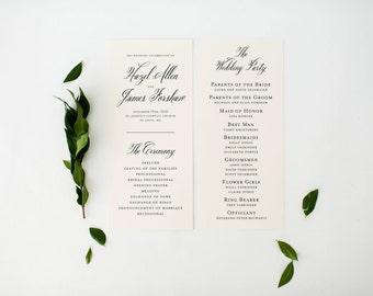 hazel wedding programs (sets of 10)  // traditional classic black white calligraphy romantic custom modern wedding program