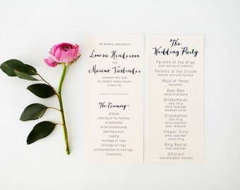 louisa wedding programs (sets of 10)  // navy floral neutral calligraphy rifle paper liner custom romantic modern wedding program