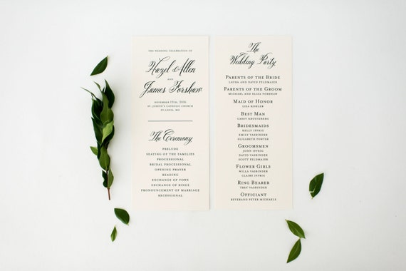 hazel wedding programs (sets of 10)  // lola louie paperie