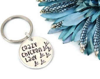 Crazy Chicken Lady Hand Stamped Keychain | Chicken Decor | Chicken Lover | Chicken Keychain | Chicken Feet | Farm Girl | Country Girl
