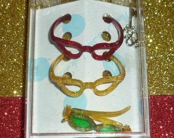 1950's Muffie Doll Eyeglasses  - Sunglasses-  Three Pairs And Original Box - Mid Century