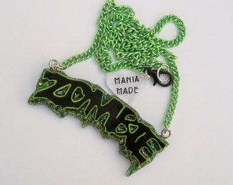 Lime Green Zombie Word Necklace