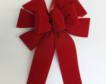 """Set of 10 Large 10"""" Hand Made Brick Red Velvet Christmas Bows - Indoor/Outdoor - Wreath Ribbons Holiday - Bow"""