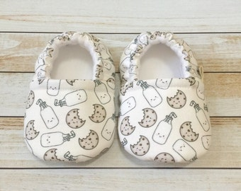 Cookies and Milk Baby Toddler Booties, Baby Toddler Shoes, Baby Toddler Soft Sole Shoes, Fabric Booties, Crib Shoes
