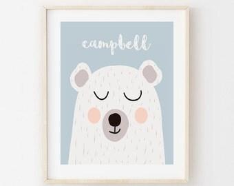 Printable Personalized Nursery Wall Art. Sleepy Bear.
