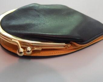 Vintage Gherardini Firenze wallet Black Leather Yellow Interior Coin Purse Vintage Italian Leather Wallet