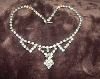 Vintage Clear Rhinestone Necklace Silver Tone Clear Rhinestone Vintage Choker Necklace