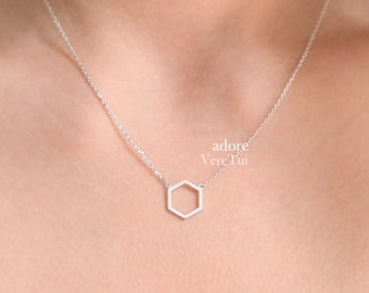 Simple Honeycomb Hexagon Honey bee Necklace in Silver