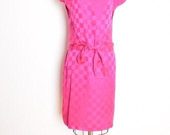 vintage 80s dress magenta fuchsia silk checkerboard knot midi dress 1980s clothing M medium