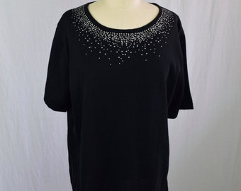 NEW VINTAGE Black + Silver Vintage Short Sleeve Sweater / Cathy Daniels / XL / 1X