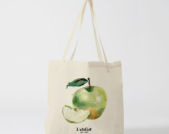 X111Y Tote bag Apple, bag apple, bag of races, tote bag canvas computer bag, diaper, bag food, illustration Apple