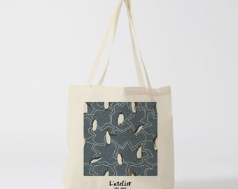 X142Y Tote bag Penguin canvas bag, shopping bag, handbag, diaper bag, shopping bag, bag, nature bag, animal bag