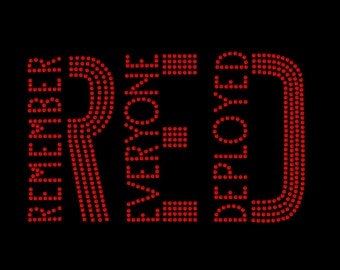 RED Remember Everyone Deployed Rhinestone Bling Heat Iron On Transfer Red Friday's