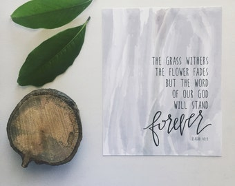 40% OFF // Christian art print - word of the Lord will stand forever - Scripture art