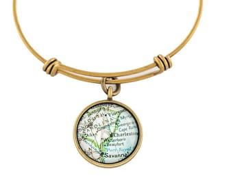 Charleston Map Bangle Bracelet/ Bronze
