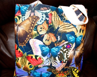 Wearable Art, Art to wear, Butterfly handbag,full of color, Shopping bag, original art bag.