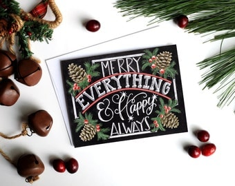 Holiday Card Set, Chalk Art, Chalkboard Art, Typography, Merry Everything & Happy Always, Pinecones, Christmas Card Set