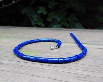 Lapis Lazuli tubes necklace with Sterling silver clasp