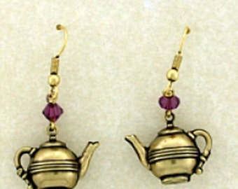 24k Gold Plated Art Deco Vintage Style Amethyst Crystal Tea Party Tea Time Teapot Earrings