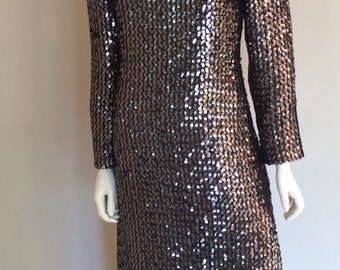 Vintage 1970's Black Sequin Long Sleeve Full Length Gown by Marita by Anthony Muto