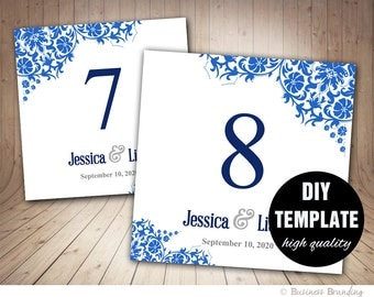 Wedding Table Number Card Template in Blue,Floral Table Card Template 5x5 Foldover,Floral TableCard Template Instant Download,Blue Wedding