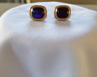 Vintage Hayward Cufflinks  Gold Filled 12K with Opalescent Blue Stone