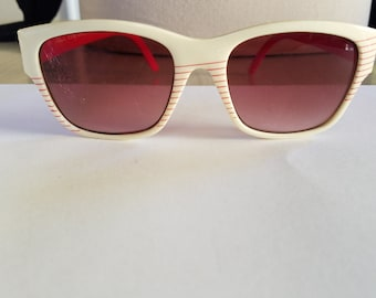 "Vintage Red and White Super Nylon ""Visual Scene"" Sunglasses Made in Taiwan"