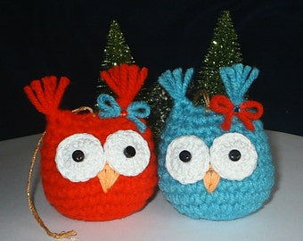 BABY OWL TWINS - Hand Crochet Ornaments - Set of 2 - Red & Turquoise - Holiday, Christmas, Tree