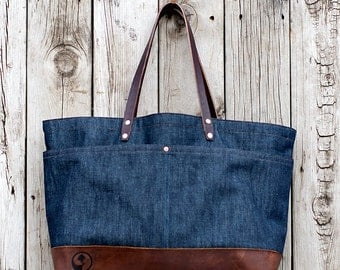 FOURTOWN TOTE BAG | Denim | Large Canvas Tote Bag | Leather Straps | Interior & Exterior Pockets | Lifetime Guarantee
