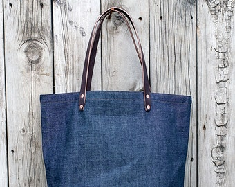 MARKET TOTE BAG | Denim with Leather Bottom | Leather Straps | Interior & Exterior Pockets | Lifetime Guarantee