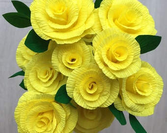 Crepe Paper Roses - yellow handmade bunch of 12 roses - 35cm wired stems with leaves, beautiful for weddings or a gift