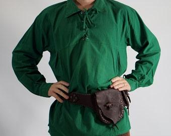 RENSHIRT LS  GREEN - Renaissance shirt, pirate costume, steampunk shirt, medieval clothing, pirate shirt,link cosplay, zelda cosplay, zootzu