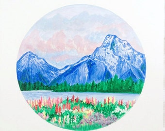 Mountain Painting, Original Landscape Painting, Flower Field Painting, Field of Flowers, Meadow Painting, Nature Art, Mountain Artwork