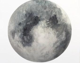 Grey Moon Print, Moon Painting, Moon Art, Moon Decor, Boho Decor, Space Print, Celestial Art, Lunar Artwork, Indie Decor, Boho Print, Galaxy