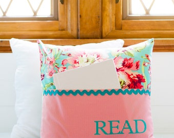 Pocket Reading Pillow - Teal and Coral Floral