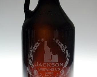 Personalized State homeBrew growler with modern hops and wheat state art  .Homebrew, personalized,Beer Glass,Beer Gift,Beer