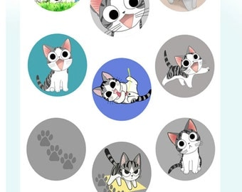 Chi -  2,5 inch circles - set of 9 - digital collage sheet - pocket mirrors, tags, scrapbooking, cupcake toppers