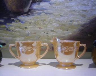 Vintage Fire King Peach Lustre Sugar and Creamer Set 1950's