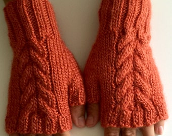 Hand  knit fingerless gloves. Texting gloves. Orange hand knit fingerless mitts.