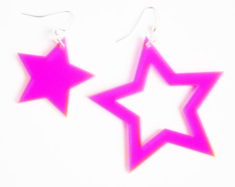 Bright neon pink laser cut acrylic asymmetric star cutout statement earrings // other color options available