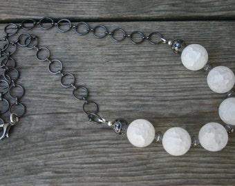 Snowball Necklace, White Quartz and Gunmetal Necklace, Chunky Quartz Necklace, White and Black Necklace, Gunmetal Necklace