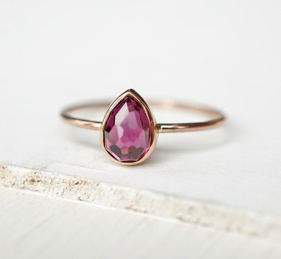 Rhodolite Garnet Ring Teardrop Ring 14k Gold Ring Rose by Luxuring